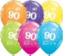 90th Birthday - 11 Inch Balloons 6pcs